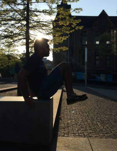 Doing knee tucks in some nice morning sun